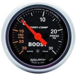 AutoMeter - AutoMeter 3377 Sport-Comp Electric Boost/Vacuum Gauge - Image 1