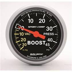 AutoMeter - AutoMeter 3308 Sport-Comp Mechanical Boost/Vacuum Gauge - Image 1