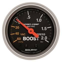 AutoMeter - AutoMeter 3303-M Sport-Comp Mechanical Boost/Vacuum Gauge - Image 1