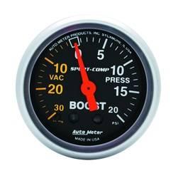 AutoMeter - AutoMeter 3301 Sport-Comp Mechanical Boost/Vacuum Gauge - Image 1